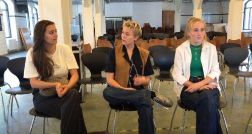 Screenshot fra film om Analog uge - viser Ilia, Mathilde og Molli