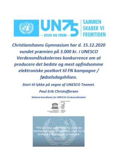 Diplom - vinderbidrag til FN-konkurrence